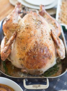 Garlic and Herb Mayonnaise Roasted Turkey with Herbs and Garlic Looking Delicious