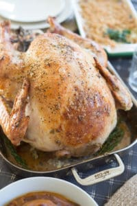 Garlic and Herb Mayonnaise Roasted Turkey in All-Clad Served to the Table