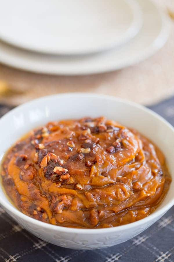 Lightened Up Slow Cooker Sweet Potato Casserole closeup