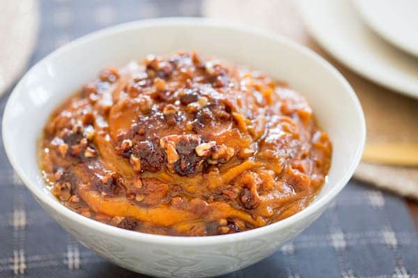 Delicious slow slow cooking casserole dish made with sweet potatoes is served in a white bowl