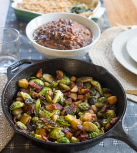 Maple Bacon Brussels Sprout Skillet Served to the Table for the Perfect Dinner
