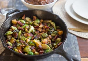 Maple Bacon Brussels Sprout Skillet Served to the Table