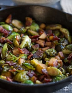 Maple Bacon Brussels Sprout Skillet Beautiful Closeup of the Delicious Dish