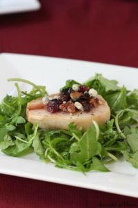 Roasted Pears with Cranberries and Blue Cheese