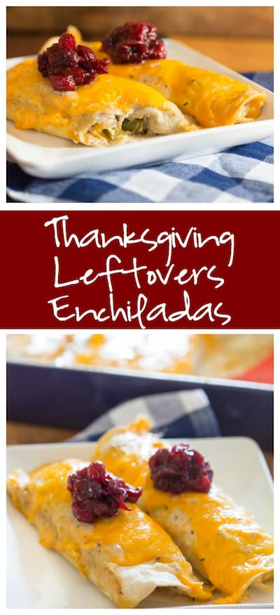 Thanksgiving Leftovers Enchiladas Collage with Two Images and Text Overlay