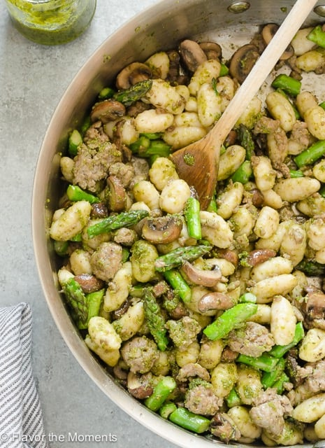 Pesto Gnocchi with Sausage and Asparagus
