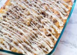 Eggnog Coffee Cake with Cream Cheese Glaze - Delicious and Perfect for Serving on Holidays