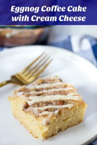 Eggnog Coffee Cake with Cream Cheese Glaze Collage with Text Overlay