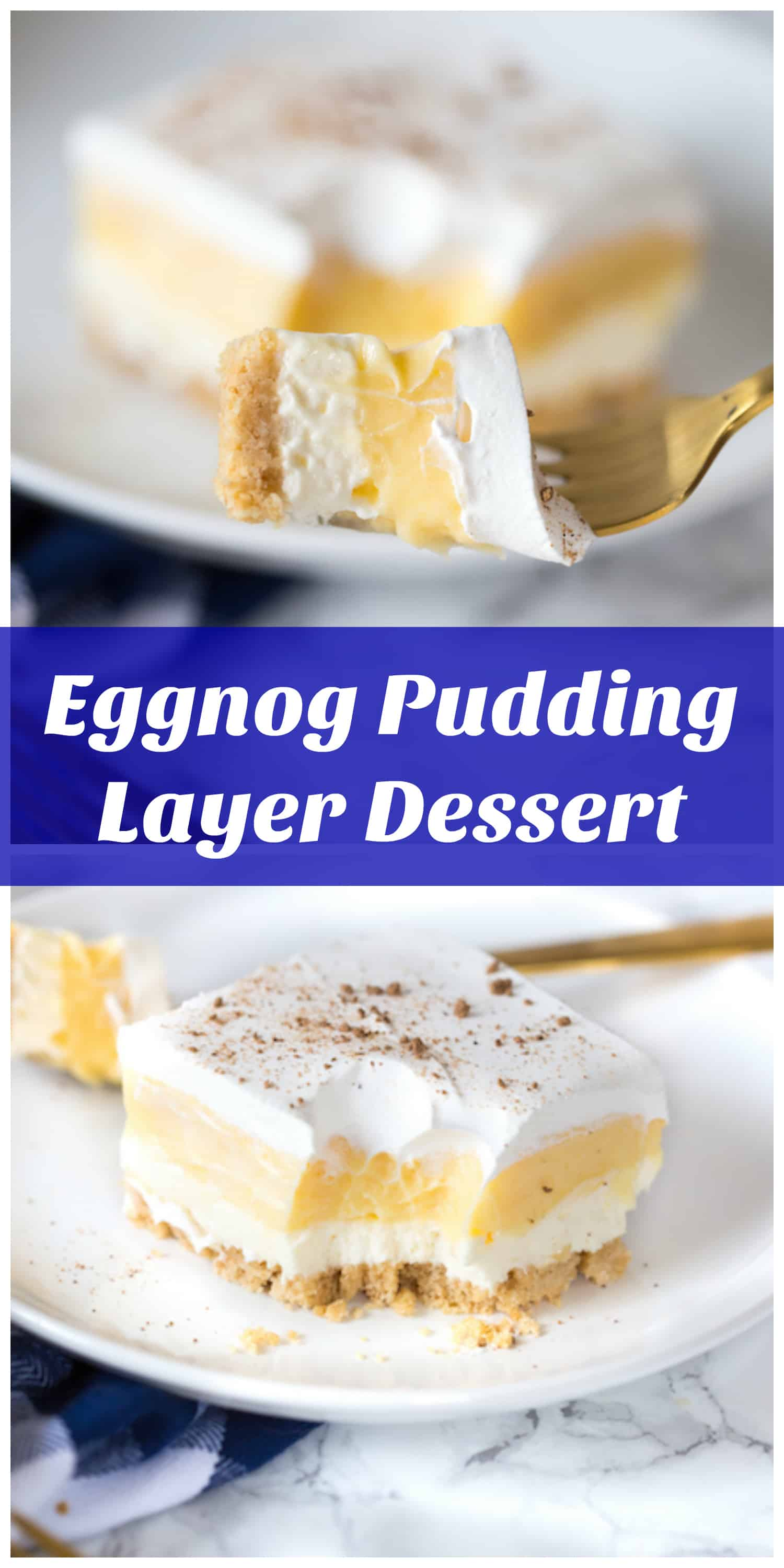 Eggnog Pudding Layer Dessert collage with text overlay