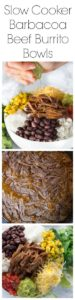 Slow Cooker Barbacoa Beef Burrito Bowls Super Long Collage with Text Overlay