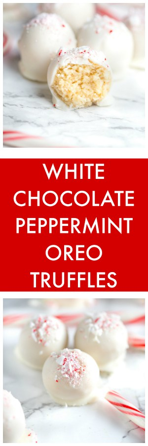 White Chocolate Peppermint Oreo Truffles super long collage with text overlay