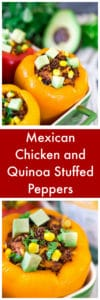Mexican Chicken and Quinoa Stuffed Peppers Super Long Collage with Text Overlay