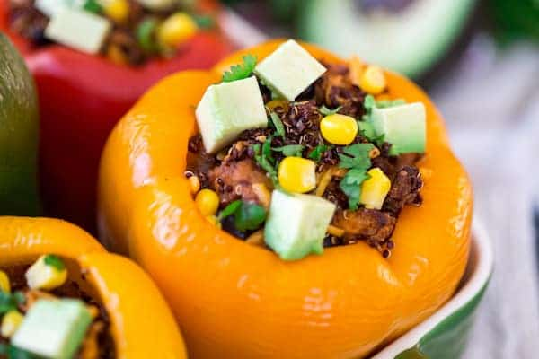 Mexican Chicken and Quinoa Stuffed Peppers - Closeup on the Ingredients that Stuff the Pepper
