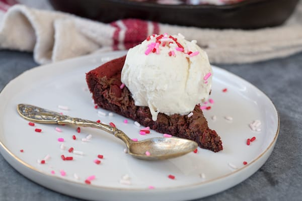 Nutella Swirled Red Velvet Skillet Cookie