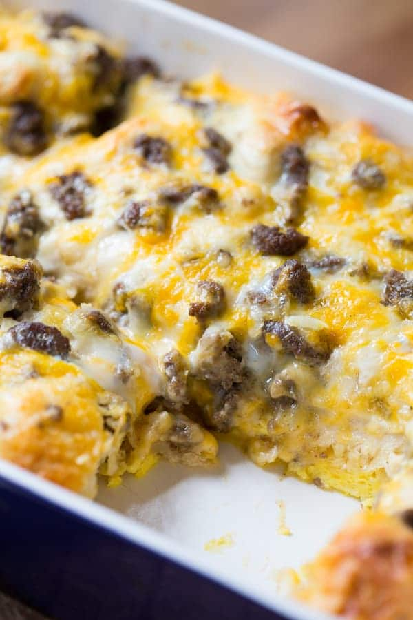 Sausage Egg and Cheese Biscuit Breakfast Casserole