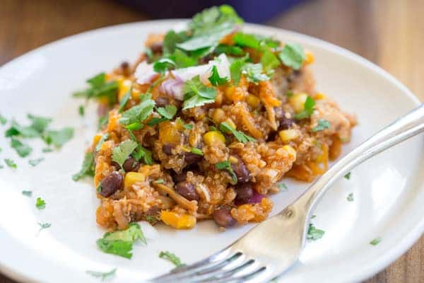 Barbecue Chicken Quinoa Casserole - Focus on One Portion of This Healthy and Delicious Dish Served in a Plate