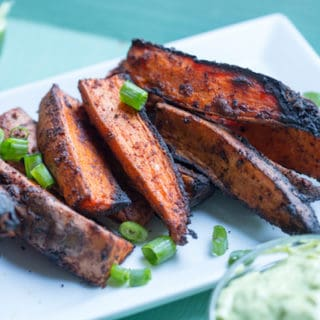Grilled Chili Lime Sweet Potato Wedges with Avocado Dipping Sauce