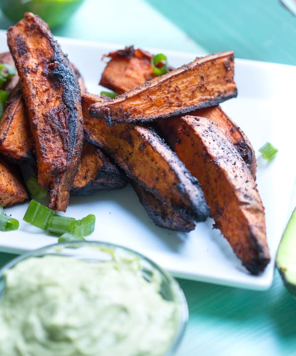 Grilled Chili Lime Sweet Potato Wedges with Avocado Yogurt Dipping Sauce