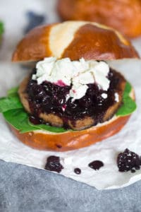Turkey Burgers with Blueberry Compote and Goat Cheese