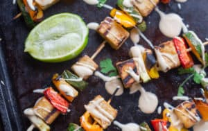 Grilled Thai Peanut Skewers with Peanut Dipping Sauce