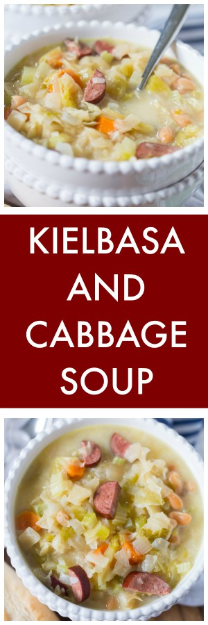 Slow Cooker Kielbasa and Cabbage Soup Super Long Collage with Text Overlay