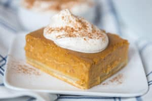Pumpkin Pie Bars with Maple Whipped Cream Closeup Served in a White Plate