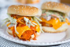 Buffalo Cauliflower Sliders Served and Ready to Be Enjoyed