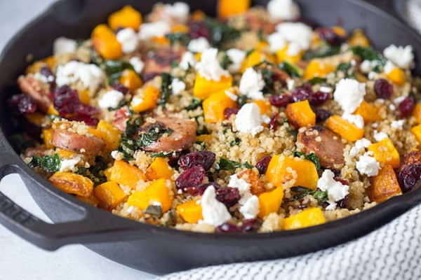Butternut Squash Chicken Sausage and Kale Quinoa Skillet