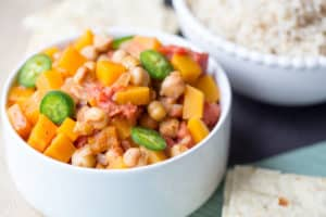 Butternut Squash Chana Masala Beauty Shot Served and Ready for the Healthy and Delicious Dinner