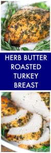 Herb Butter Roasted Turkey Breast Collage of Two Images with Text Overlay