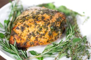 Herb Butter Roasted Turkey Breast with Herbs on the Plate