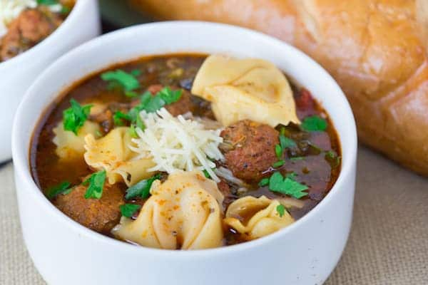 Slow Cooker Meatball Tortellini Soup