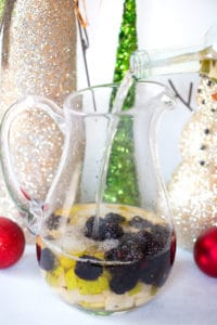 Spiced Blackberry Pear Sangria - Pouring into the Jar, Getting the Drink Ready