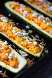Buffalo Turkey Stuffed Zucchini Boats