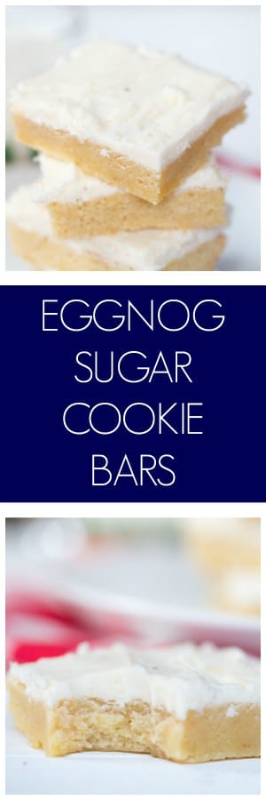 Eggnog Sugar Cookie Bars collage with text overlay