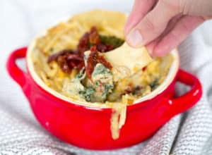 Pesto Sun Dried Tomato Spinach Dip - Dipping with a Chip and Making the First Try
