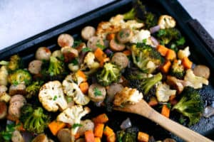 One Pan Chicken Sausage and Vegetables