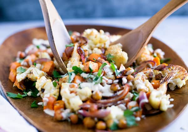 Roasted Cauliflower Sweet Potato Chickpea Salad with Lemon Tahini Dressing - Using Two Spoons to Grab a Good Load of This Delicious Salad