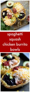 Spaghetti Squash Chicken Burrito Bowls Super Long Collage with Text Overlay