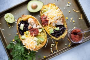 Spaghetti Squash Chicken Burrito Bowls Overhead Shot on the Meal in the Tray Before Serving