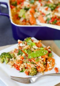 Thai Peanut Chicken Quinoa Casserole Served for Dinner asnd Packed with Health