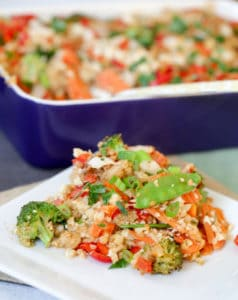 Thai Peanut Chicken Quinoa Casserole with the Plate Full of Dish in the Foreground