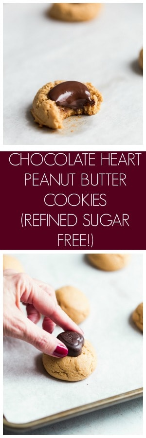 Chocolate Heart Peanut Butter Cookies Refined Sugar Free