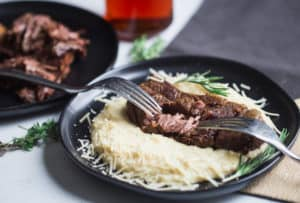Slow Cooker Beer Braised Short Ribs with Parmesan Polenta