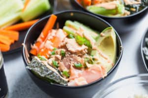 Tuna Rice Bowls with Yum Yum Sauce - Focus on the Tuna in the Center of the Dish