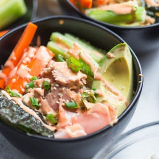 Tuna Rice Bowls with Yum Yum Sauce - Beautiful Closeup on the Dark Bowl