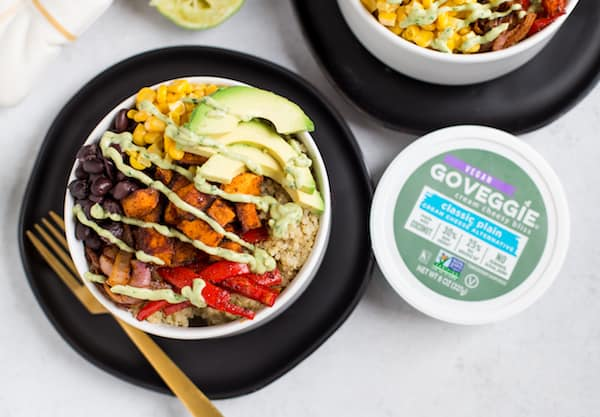 Vegetarian Quinoa Burrito Bowls with Avocado Cream Sauce Overhead Shot of Two Bowls and GO VEGGIE® Cream Cheesy Bliss