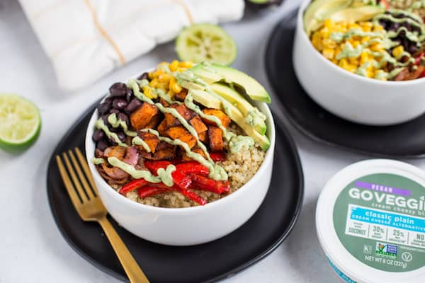 Vegetarian Quinoa Burrito Bowls with Avocado Cream Sauce - Made with Vegan GO VEGGIE® Cream Cheesy Bliss