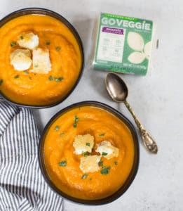 Carrot Leek Soup with Grilled Cheese Croutons with Go Veggie Mozzarella at the Side