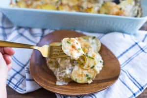 Leek and Gruyere Scalloped Potatoes - the First Bite on a Fork